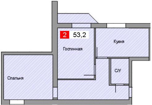 2-комнатная квартира (53,2 м²)