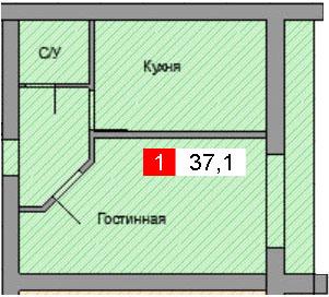1-комнатная квартира (37,1 м²)