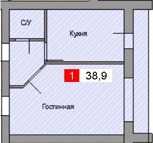 1-комнатная квартира (38,9 м²)