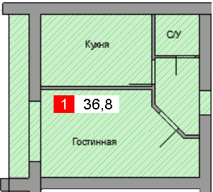 1-комнатная квартира (36,8 м²)