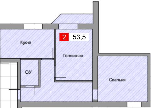 2-комнатная квартира (53,5 м²)
