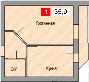1-комнатная квартира (35,9 м²)