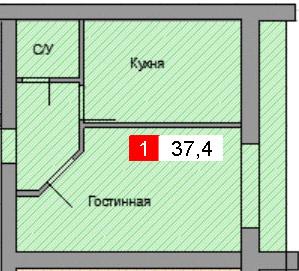 1-комнатная квартира (37,4 м²)