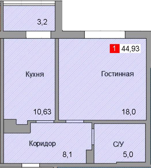 1-комнатная квартира (44,93 м²)