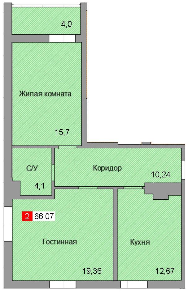 2-комнатная квартира (66,07 м²)