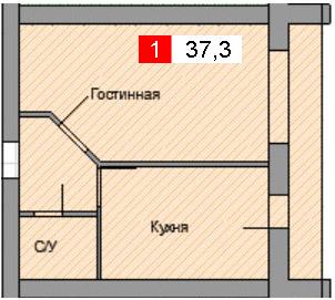 1-комнатная квартира (37,3 м²)