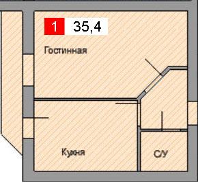 1-комнатная квартира (35,4 м²)