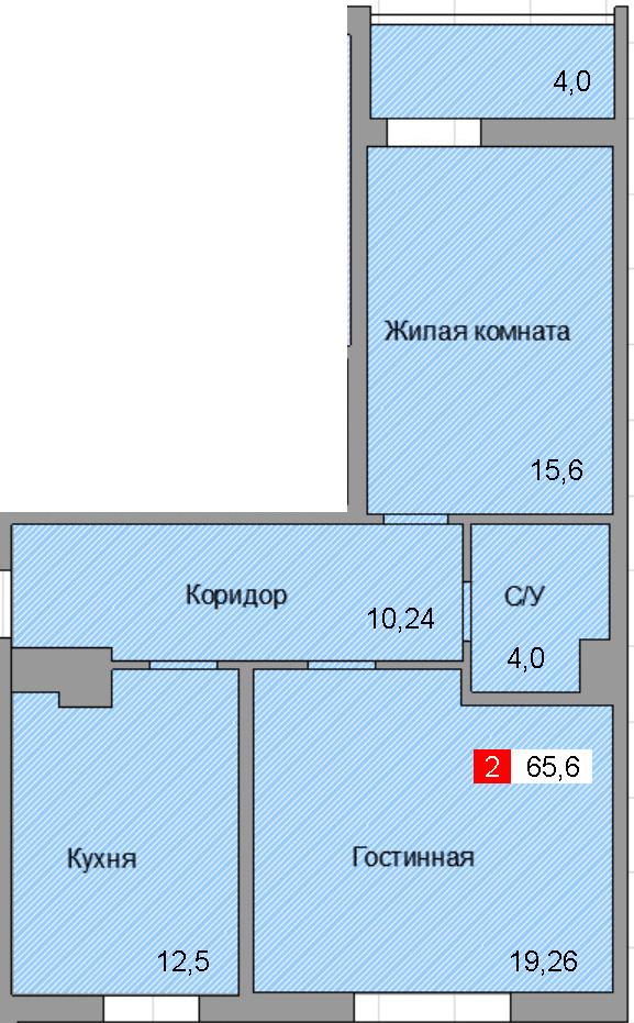 2-комнатная квартира (65,6 м²)