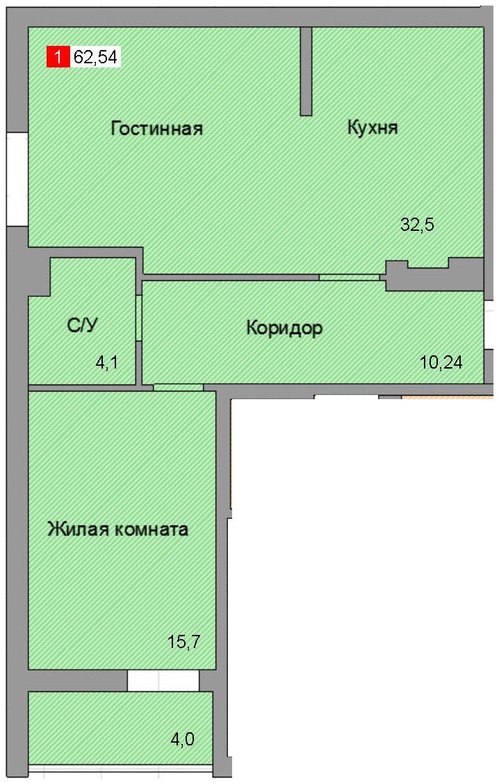 1-комнатная квартира (62,54 м²)