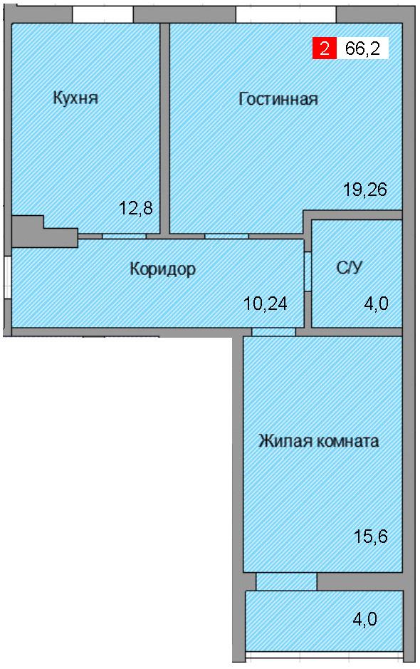 2-комнатная квартира (66,2 м²)