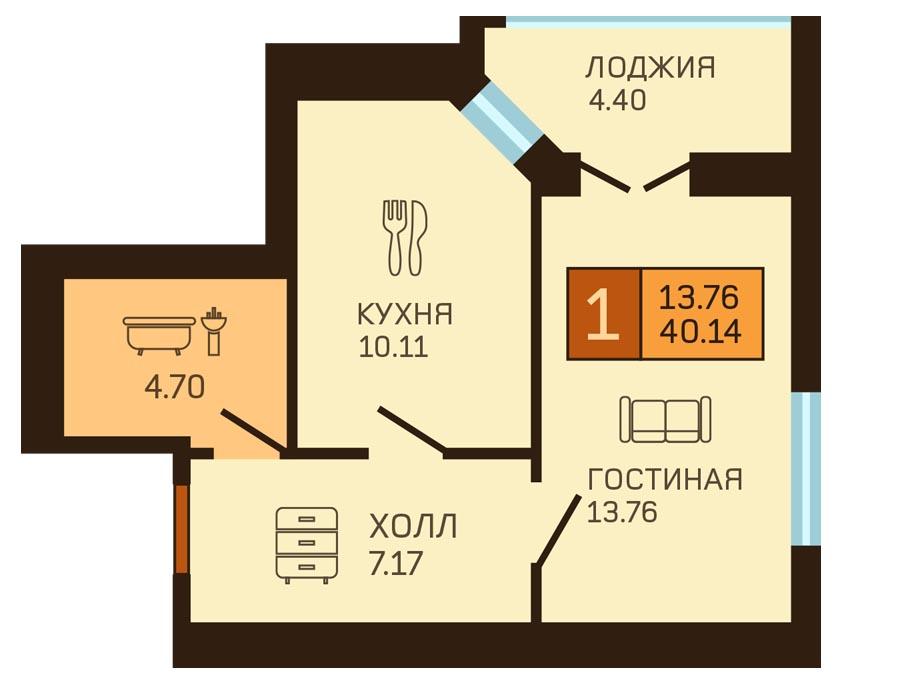 1-комнатная квартира на улице Аксакова 101, 40.14 м²