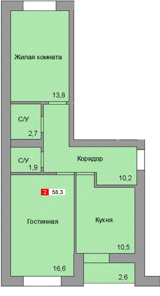 1-комнатная квартира (58,3 м²)