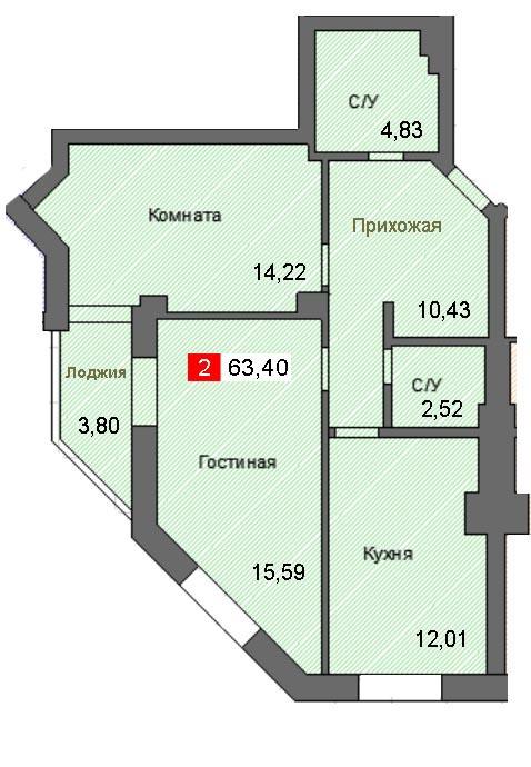 2-комнатная квартира (63,40 м²)