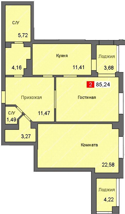 2-комнатная квартира (85,24 м²)