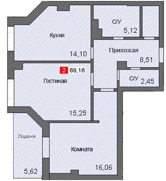 2-комнатная квартира (69,16 м²)