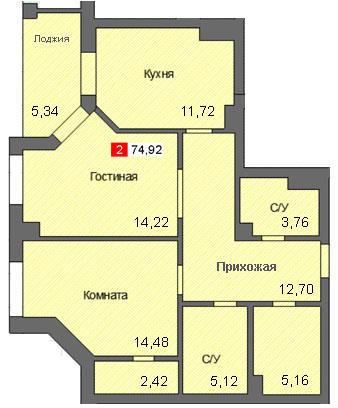 2-комнатная квартира (74,92 м²)