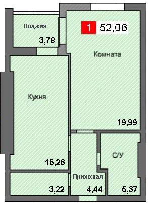 1-комнатная квартира (52,06 м²)