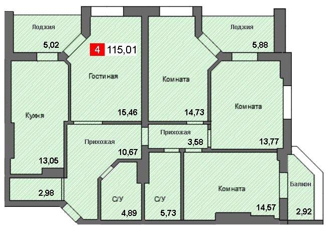 4-комнатная квартира (115,01 м²)
