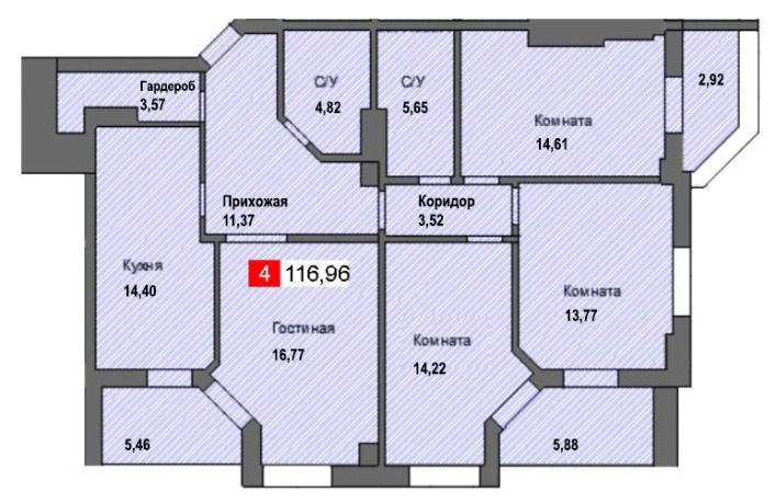 4-комнатная квартира (116,96 м²)