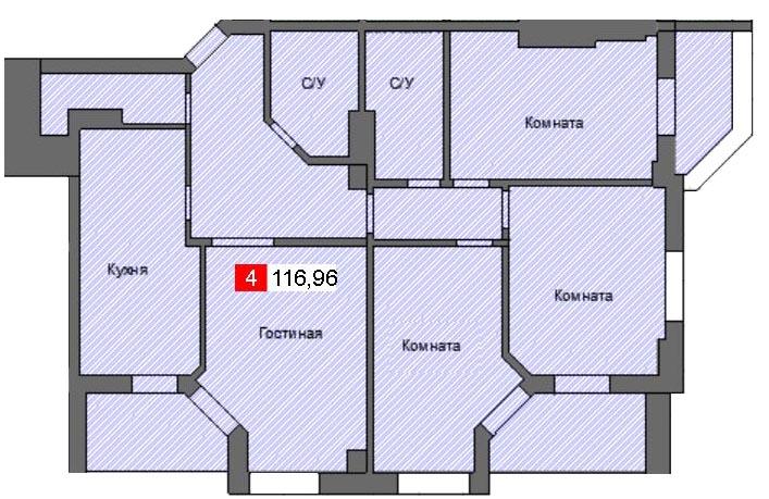 3-комнатная квартира (116,96 м²)