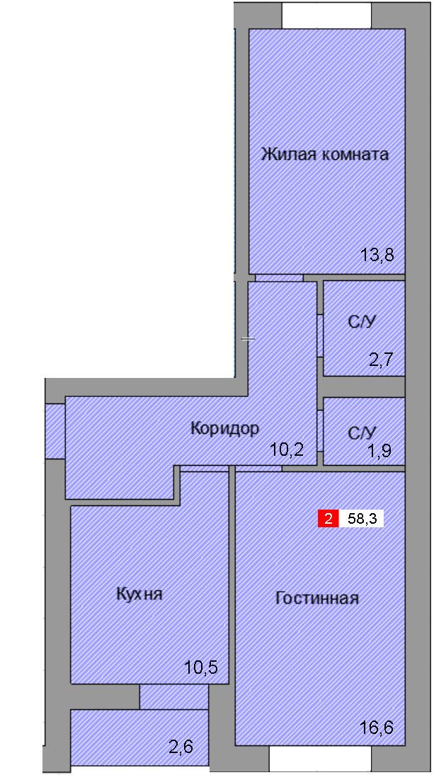 2-комнатная квартира (58,3 м²)