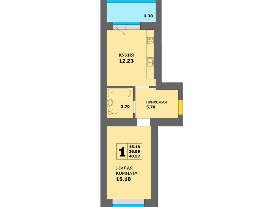 1-комнатная квартира на улице Новикова 13, 40,27 м²
