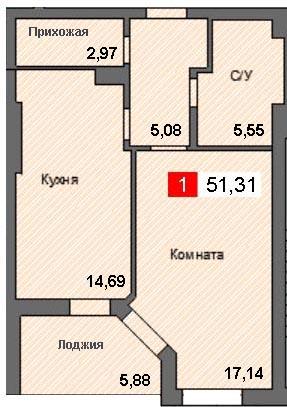 1-комнатная квартира (51,31 м²)