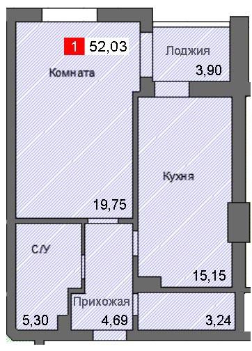 1-комнатная квартира (52,03 м²)