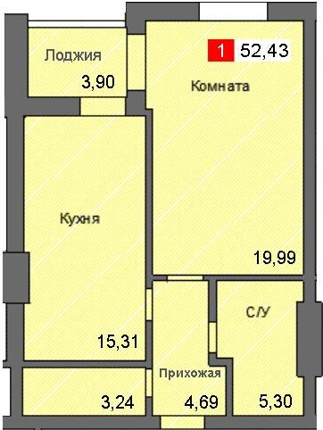 1-комнатная квартира (52,43 м²)