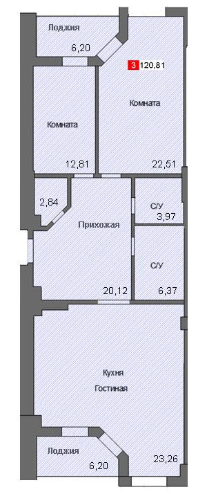 3-комнатная квартира (120,81 м²)