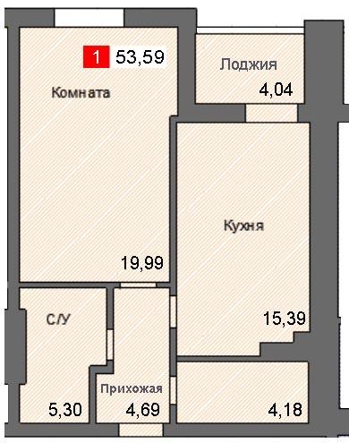 1-комнатная квартира (53,59 м²)