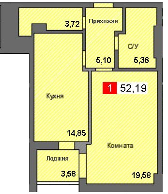 1-комнатная квартира (52,19 м²)
