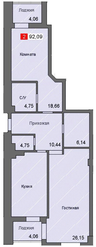 2-комнатная квартира (92,09 м²)
