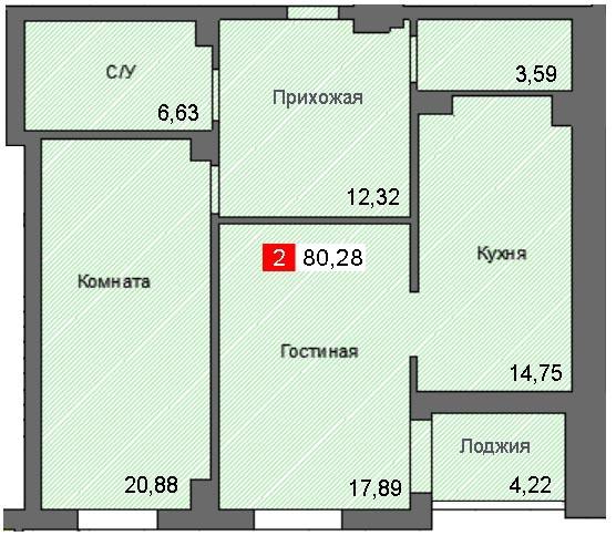 2-комнатная квартира (80,28 м²)