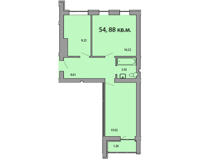 2-комнатная квартира на улице Ю. Гагарина, пос. М. Исаково , 54.88 м²