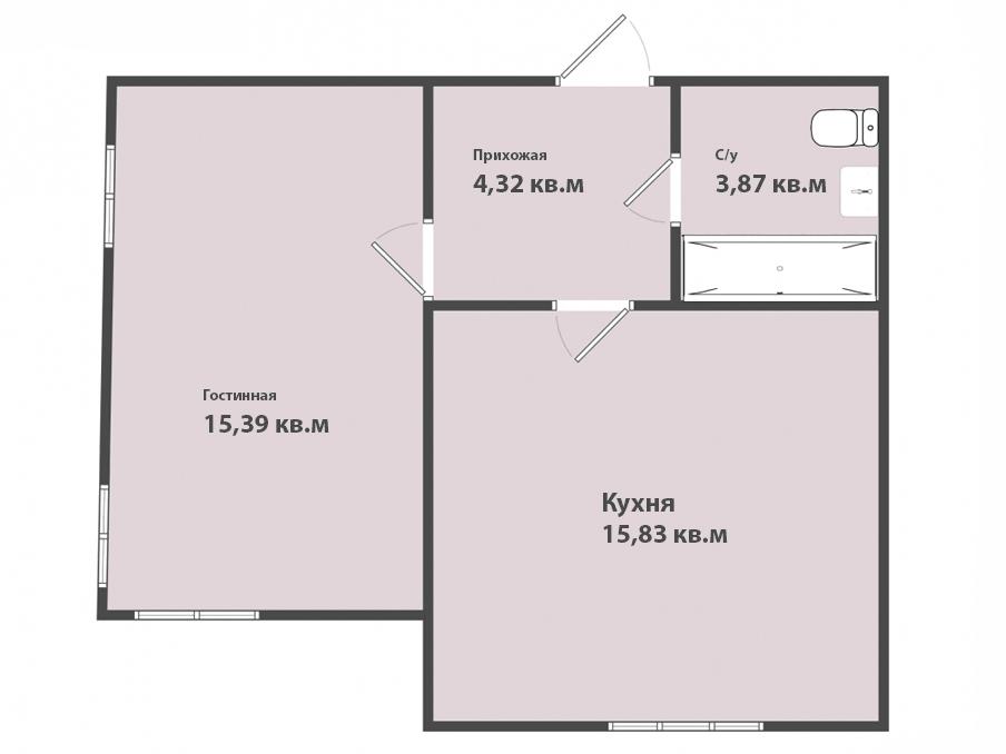 1-к квартира, ул. Петропавловская 6, 39.41 м², 4/4 эт.