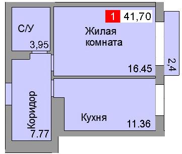 1-комнатная квартира (41,60 м²)