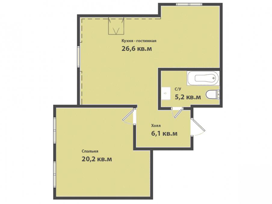1-к квартира, ул. Зеленая 22, 58.1 м², 6/6 эт.