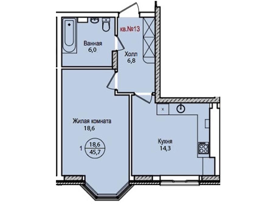 1-комнатная квартира на улице Энгельса 77, 45.7 м²