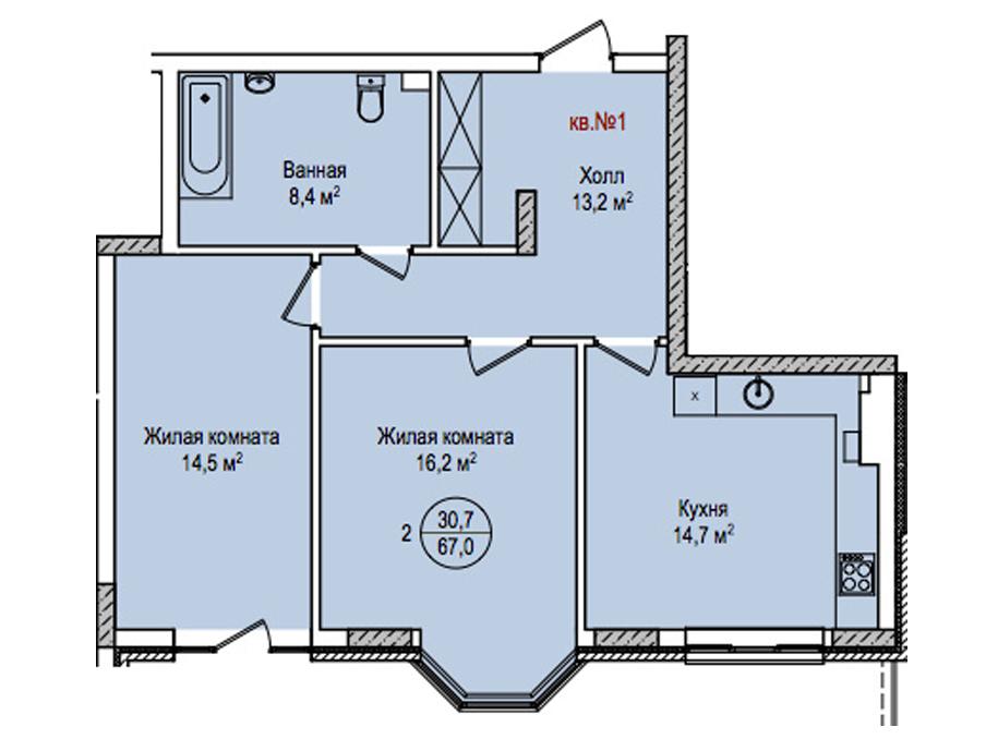 2-комнатная квартира на улице Энгельса 77, 67.0 м²