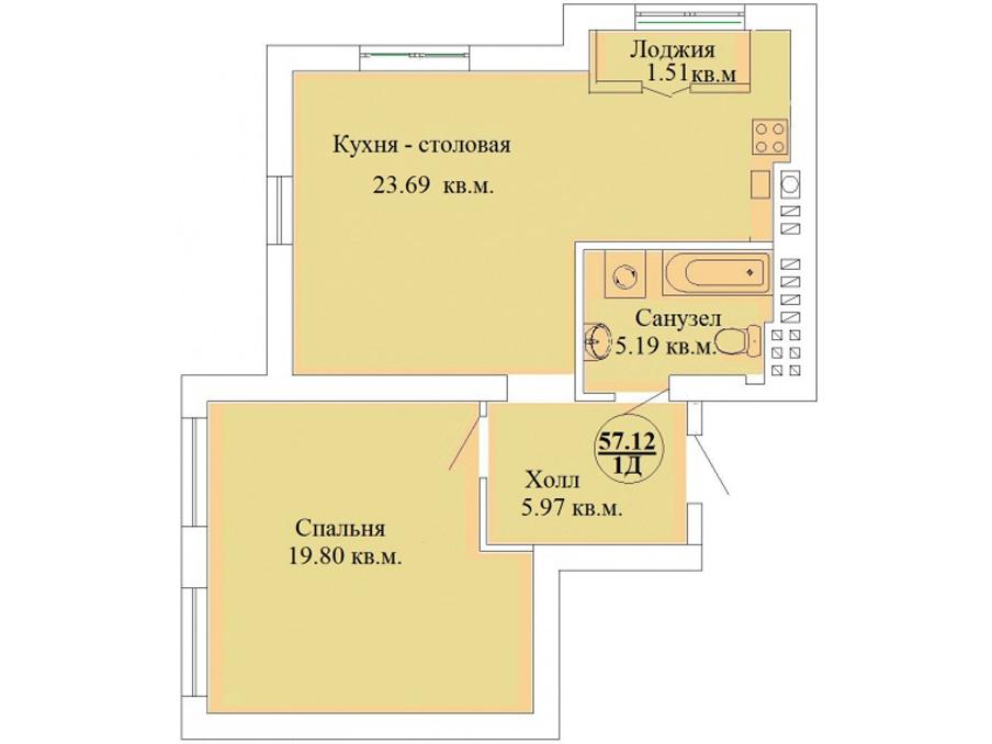 1-к квартира, ул. Зеленая 22, 57.12 м², 6/6 эт.
