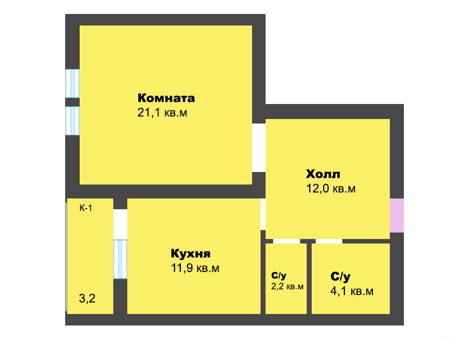 1-к квартира, ул. Лесопарковая 39а, 54.5 м², 1/4 эт.