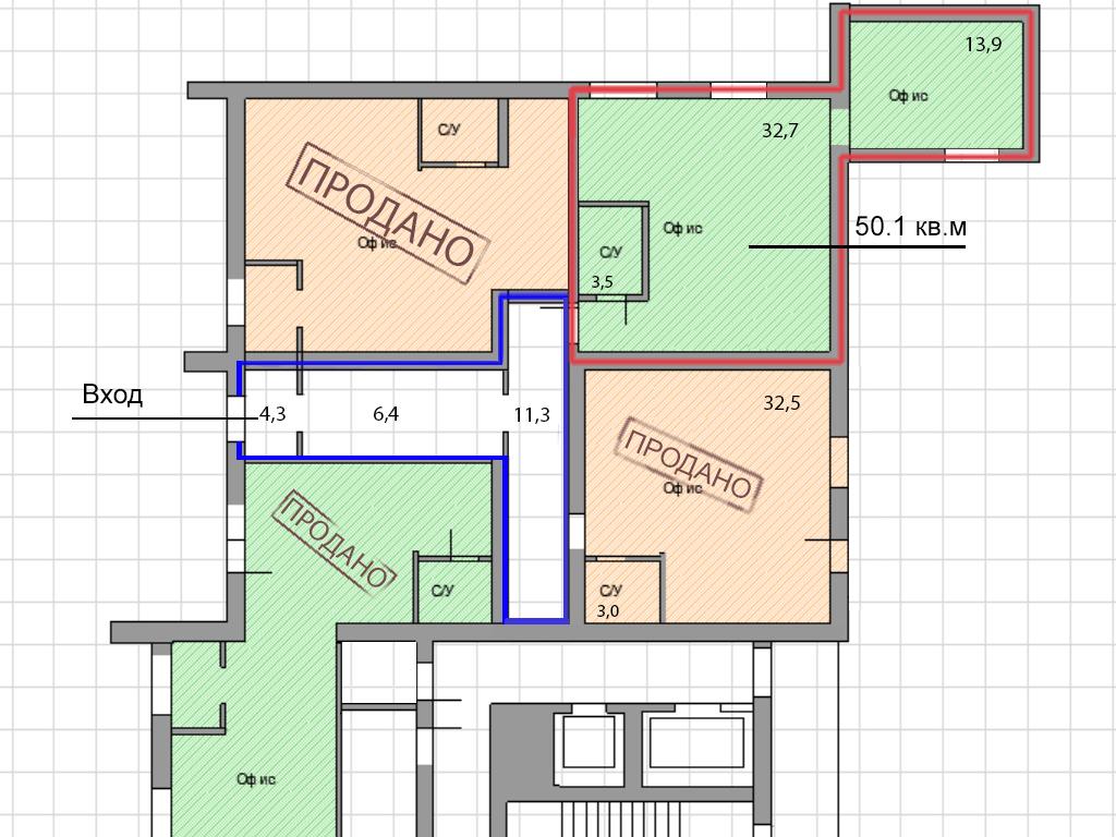 Офисное помещение по ул. Нансена, 13 (51.1 м²) - Фотография 2