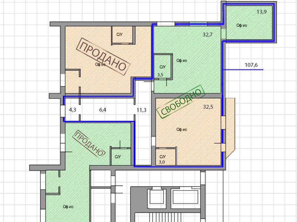 Офисные помещения по ул. Нансена, 13 (35-107 м²) - Фотография 2