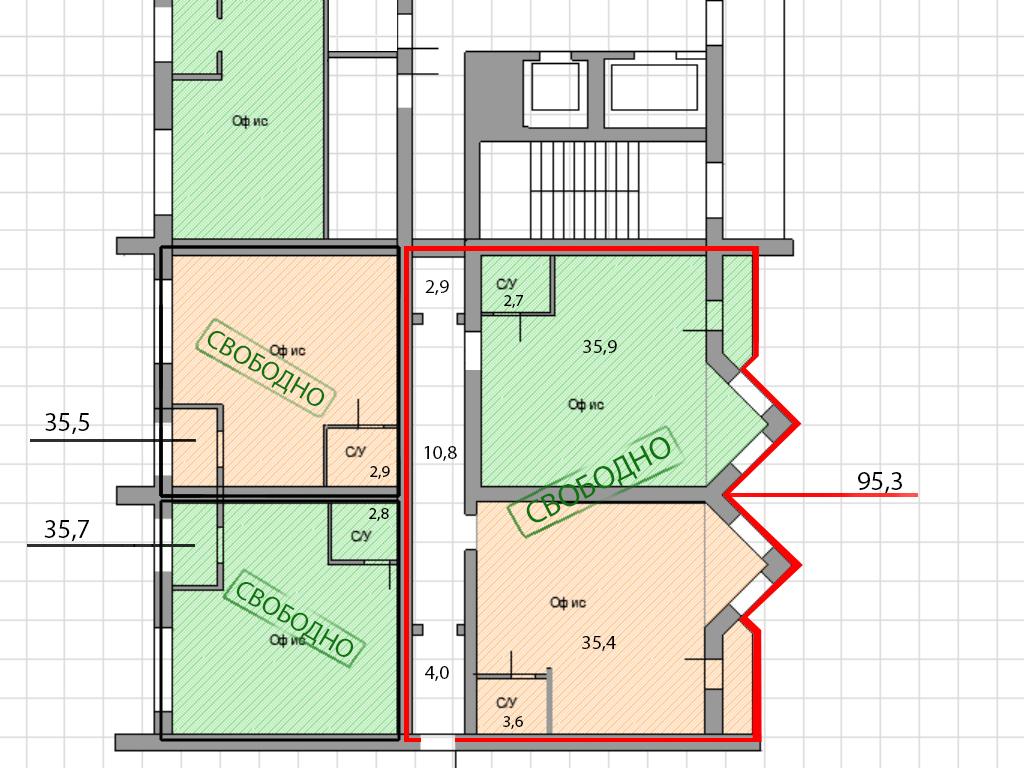 Офисные помещения по ул. Нансена, 13 (35-107 м²) - Фотография 3