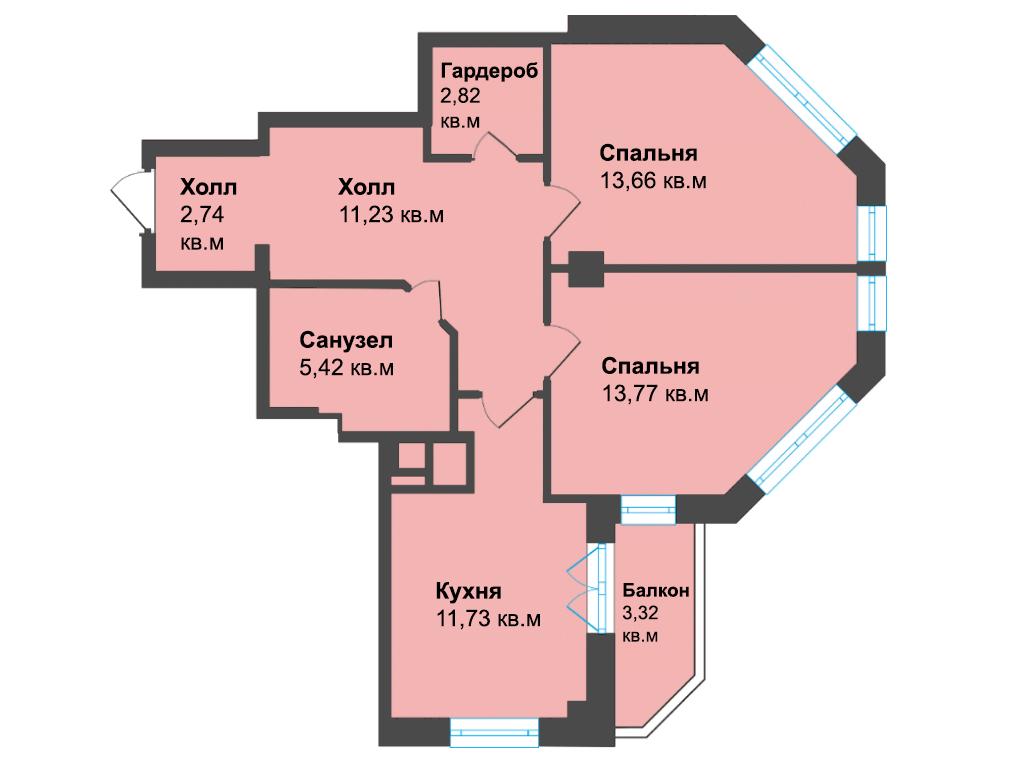 2-к квартира, ул. К. Леонова 49а, 64.69 м², 12/3 эт.,4с.