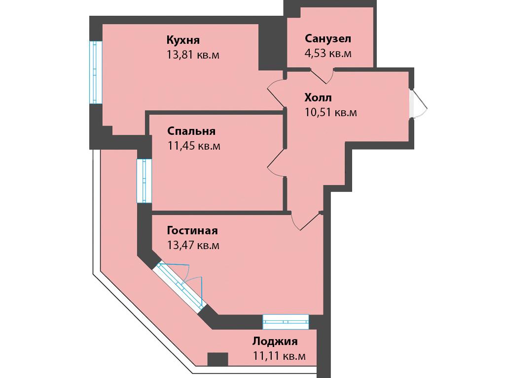 2-к квартира, ул. К. Леонова 49а, 64.89 м², 12/5 эт.,2с. - Фотография 1