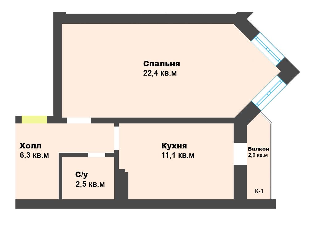 1-к квартира, ул. Нансена 13, 44.3 м², 2/12 эт. с ГОТОВЫМ РЕМОНТОМ