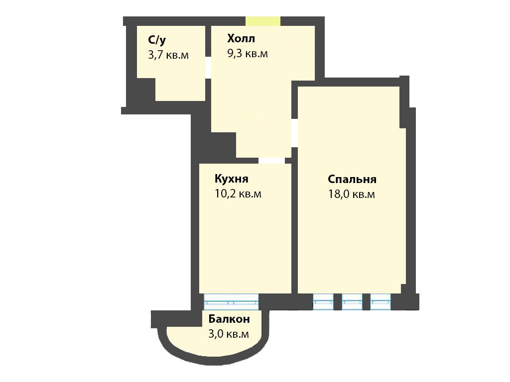 1-к квартира, ул. Яблоневая аллея 10, 44.2 м², 5/2 эт. - Фотография 1