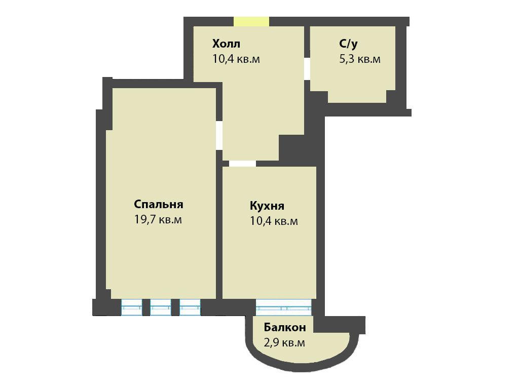1-к квартира, ул. Яблоневая аллея 10, 48.7 м², 5/3 эт. - Фотография 1